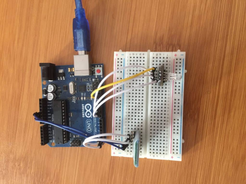 RGB LED and HC-05 Bluetooth module connected to Arduino