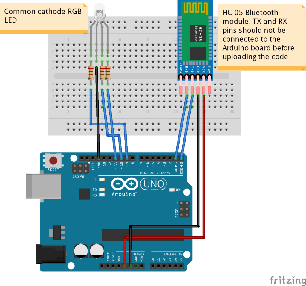 schematic for RGB LED with HC-05 Bluetooth module and Arduino