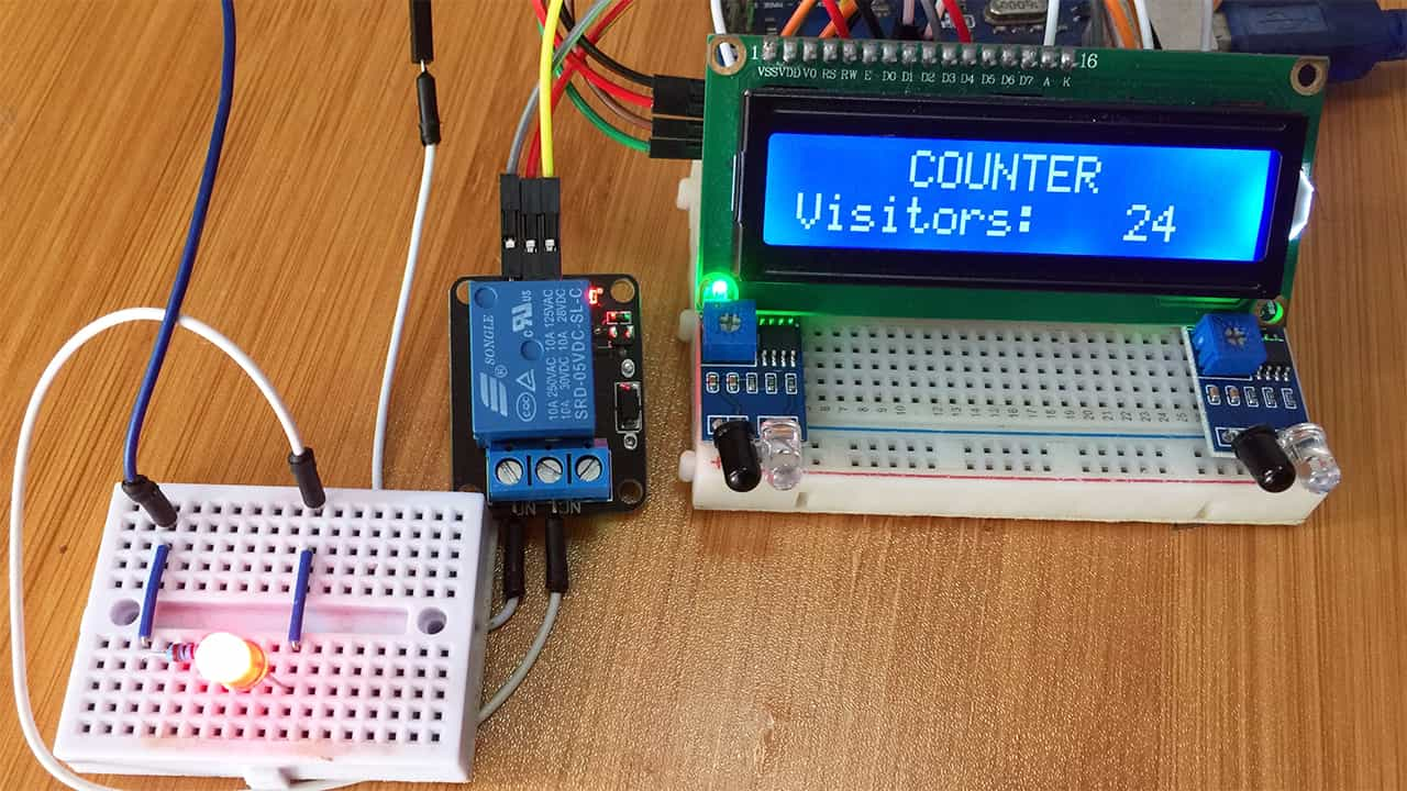 Obstacle Detection using IR Sensor with Arduino. (Bidirectional Visitor Counter example)