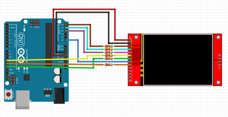"""2.4"""" tft touch screen with Arduino normal use schematic"""