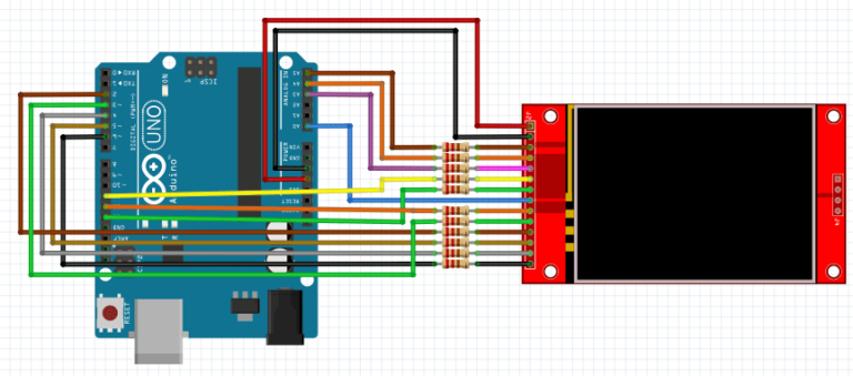 """2.4"""" ili9341 tft touch scree with arduino touch functionality schematic"""