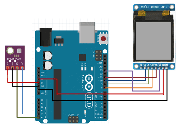bme280 with st7735 tft display and arduino