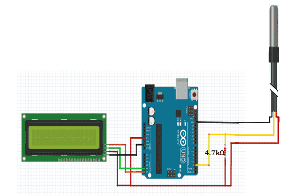 ds18b29 waterproof temperature sensor with arduino and lcd