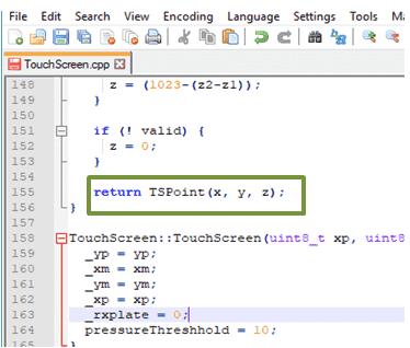 TouchScreen library TSPoint