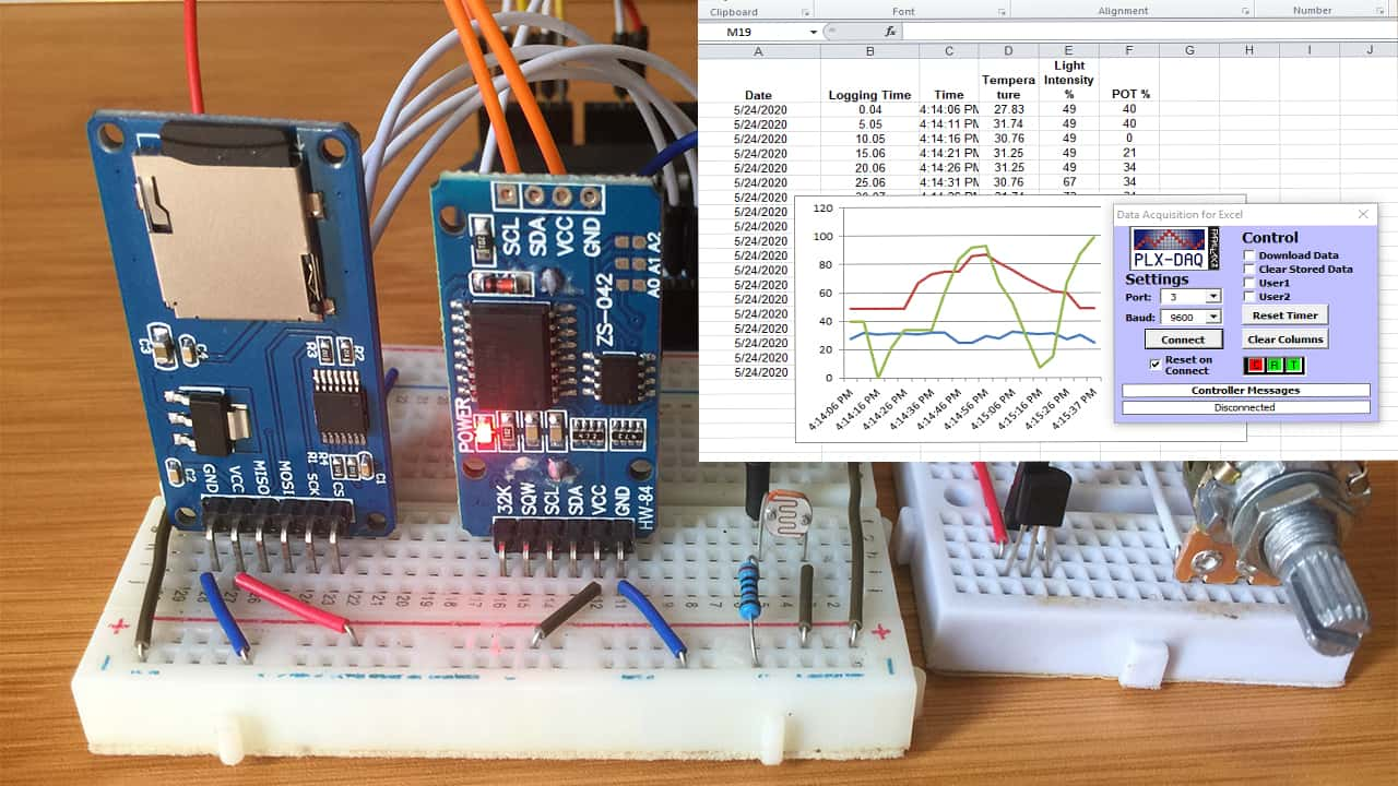 arduino data logger with sd card and plx-dax