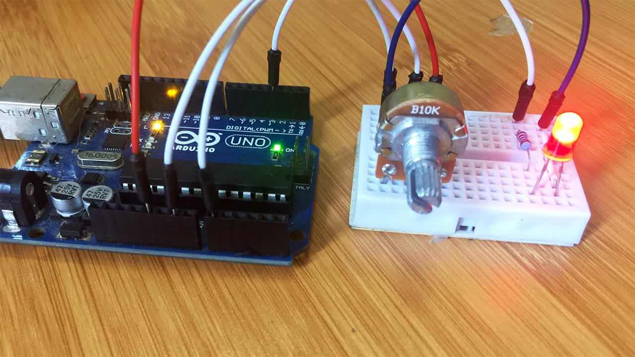 Arduino PWM Output and LED brightness control.