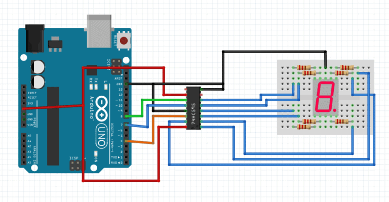 7 segment display with 74hc595 shift register