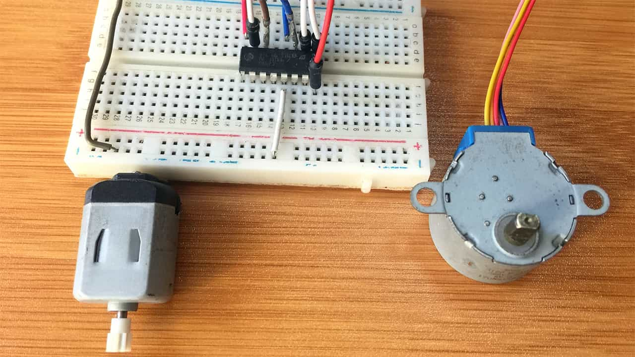 L293D motor driver with Arduino for controlling DC and stepper motors