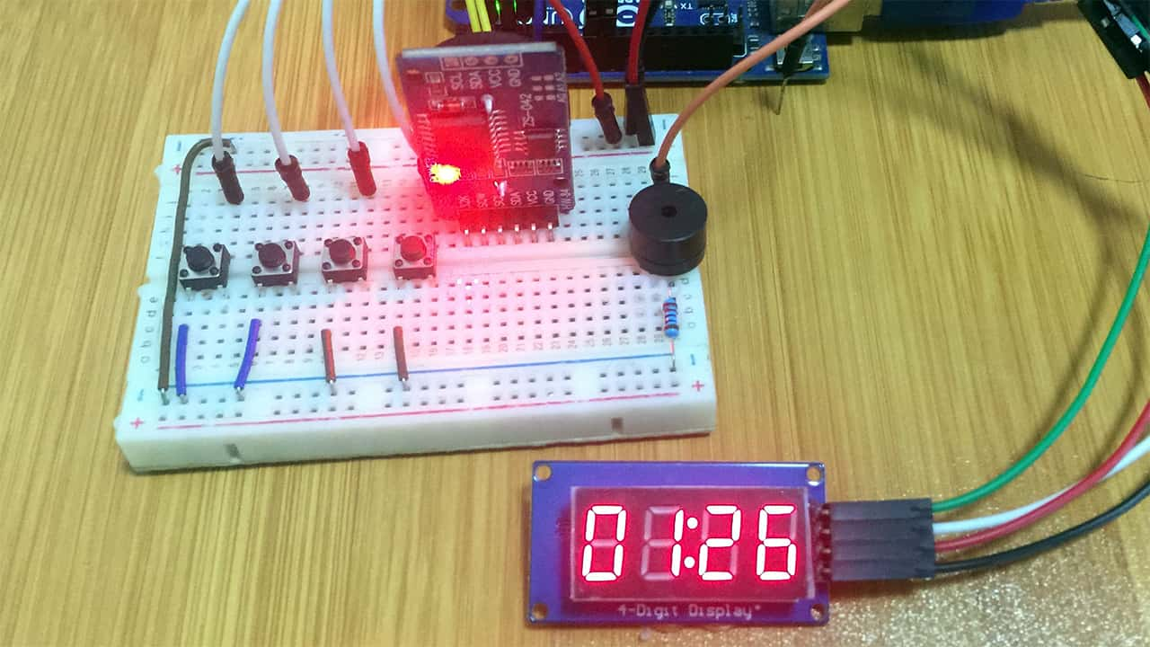 TM1637 4-Digit 7-Segment Display with Arduino. (Digital Clock example)
