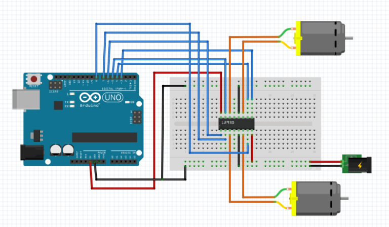 L293D DC motor control with Arduino schematic