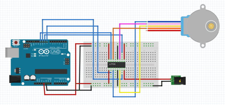 L293D with Arduino stepper motor control schematic