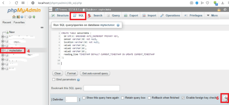 creating SQL table in the database