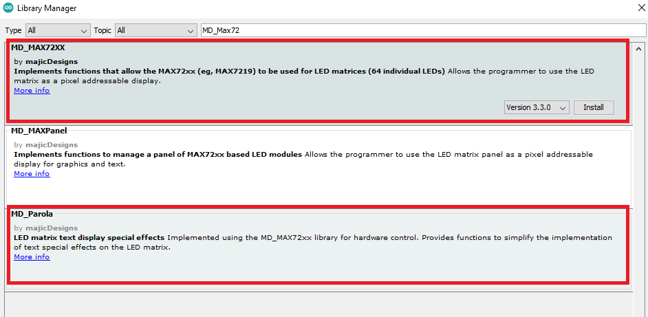 installing md_max72xx and md_parola libraries